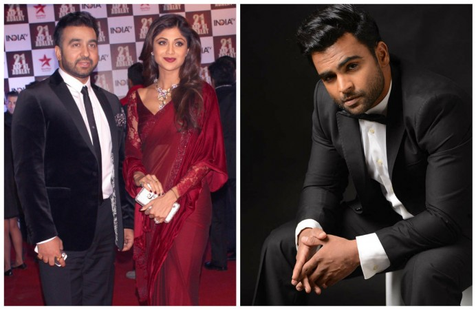 Raj Kundra, Shilpa Shetty (left), Sachiin Joshi (right)