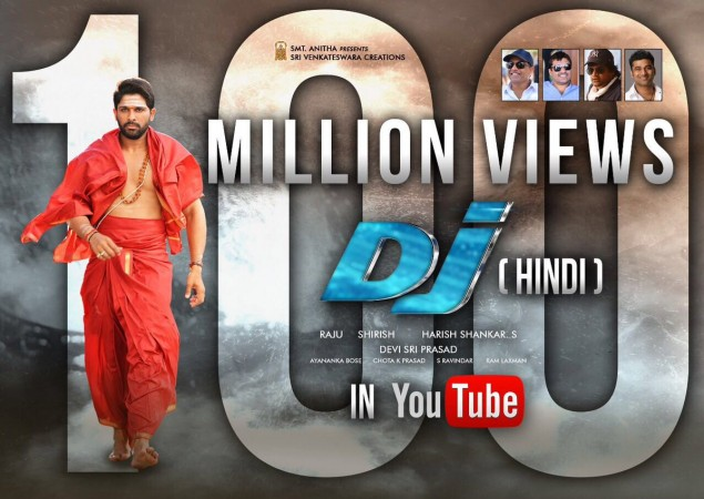 DJ Duvvada Jagannatham Hindi version gets 100 million views; Allu Arjun thrilled over the response