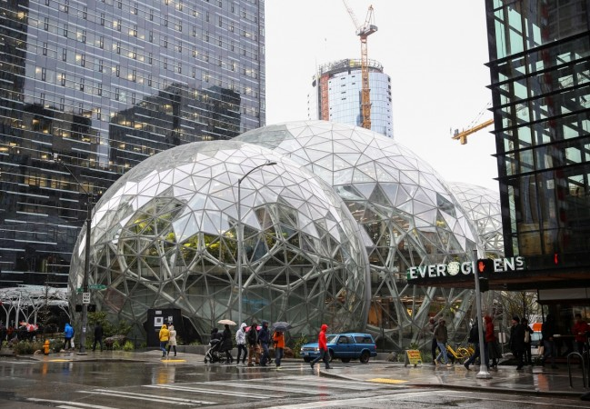 The Amazon Spheres are seen from 6th Avenue at Amazon's Seattle headquarters in Seattle, Washington, U.S.