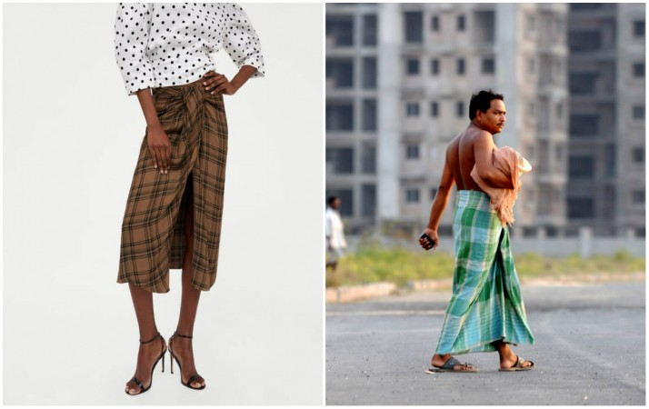 Zara's skirt (L), A man wearing lungi in India