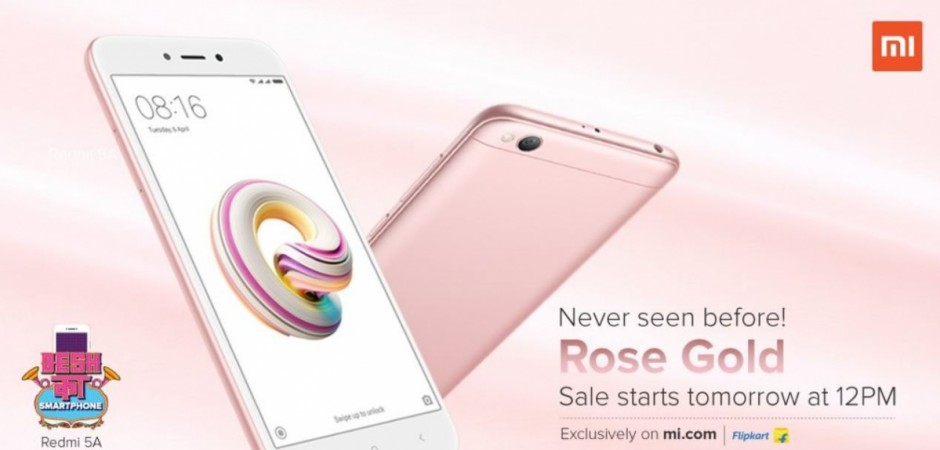 Xiaomi, Redmi 5A, flash sale, Rose Gold, India,launch, price, specifications