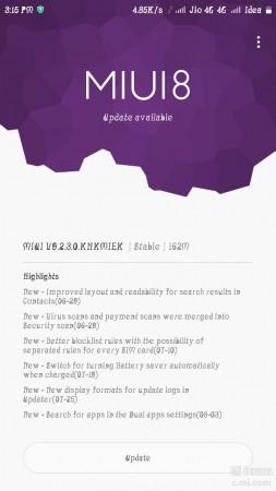 MIUI 9.2 update on Redmi Note