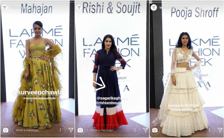Surveen Chawla, Sagarika Ghatge and Nimrat Kaur walks the ramp at LFW 2018