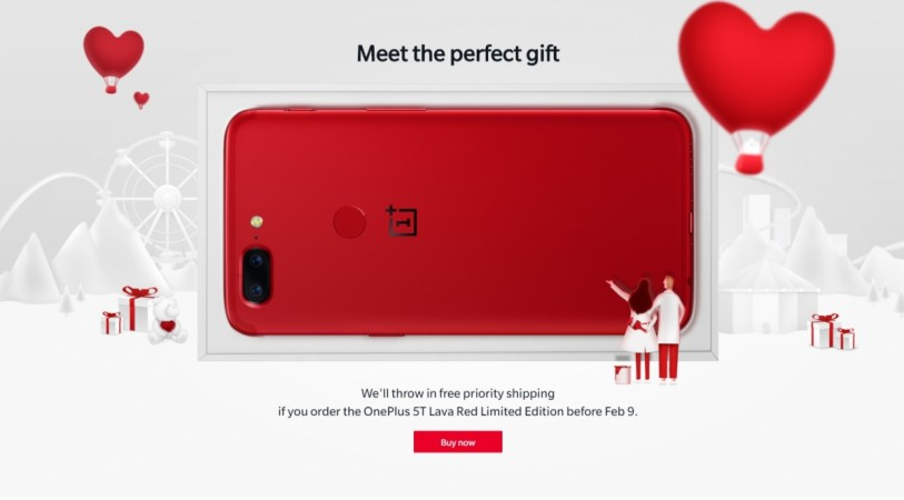 OnePlus 5T Lava Red on Valentine's Day