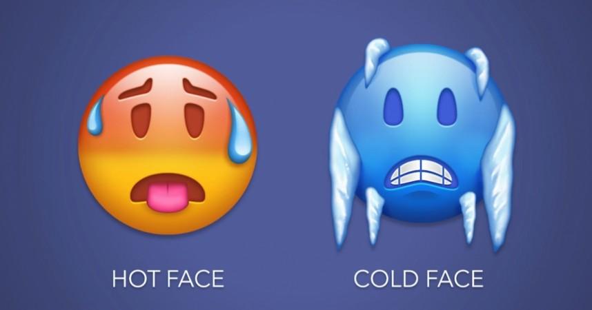 Hot Face, Cold Face emoji as seen in Emojipedia video