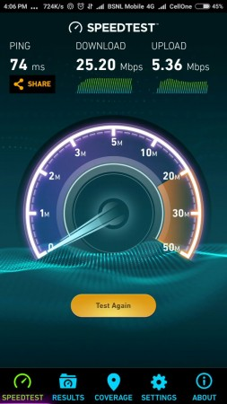 BSNL 4G speed test