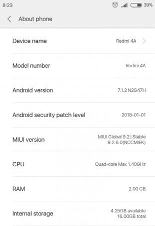 MIUI 9.2 for Redmi 4A