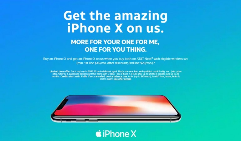 AT&T BOGO deal on Apple's iPhone X and iPhone 8 handsets