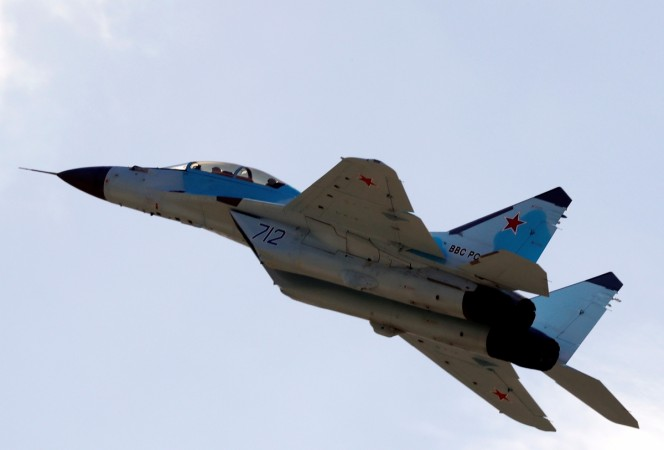 A Mikoyan MiG-35 multi-role fighter performs during a demonstration flight at the MAKS 2017 air show in Zhukovsky