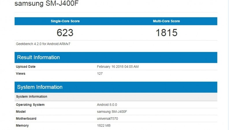 New Samsung device with model number SM-J400F spotted on Geekbench database