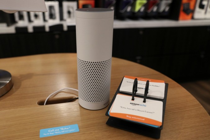The amazon echo is seen on display at the Amazon Books store in the Time Warner Center