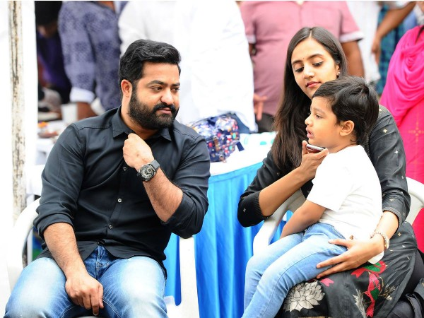 Jr NTR with his wife Lakshmi Pranathi and son Abhay Ram
