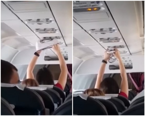 woman dries knickers on airplane