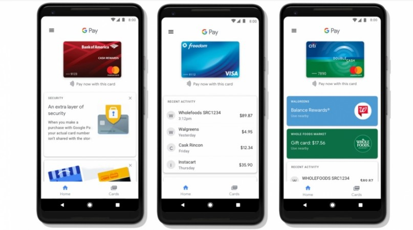 Google Pay features seen on android smartphone screen