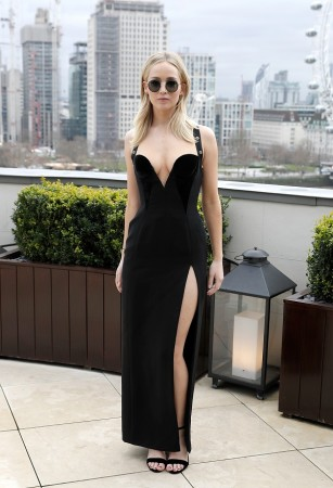 Jennifer Lawrence in Versace safety-pin gown