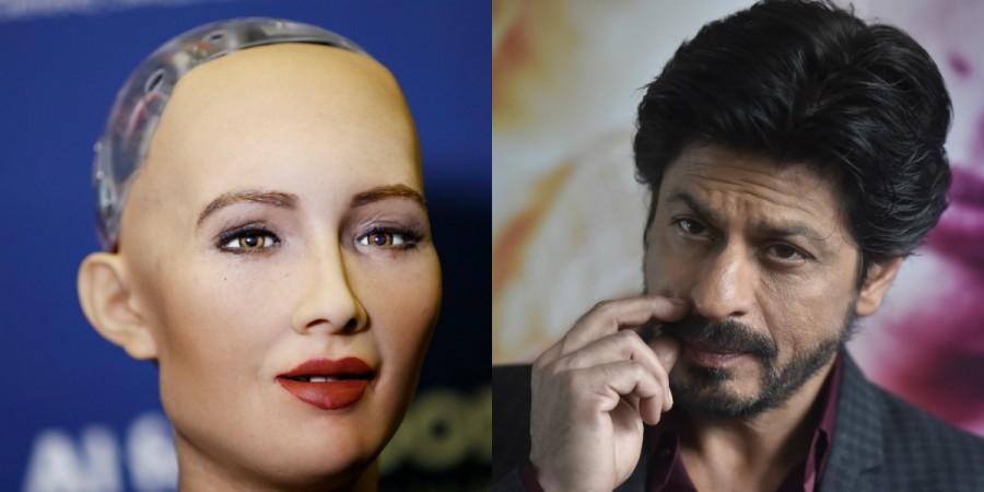 Robot Sophia and Shah Rukh Khan