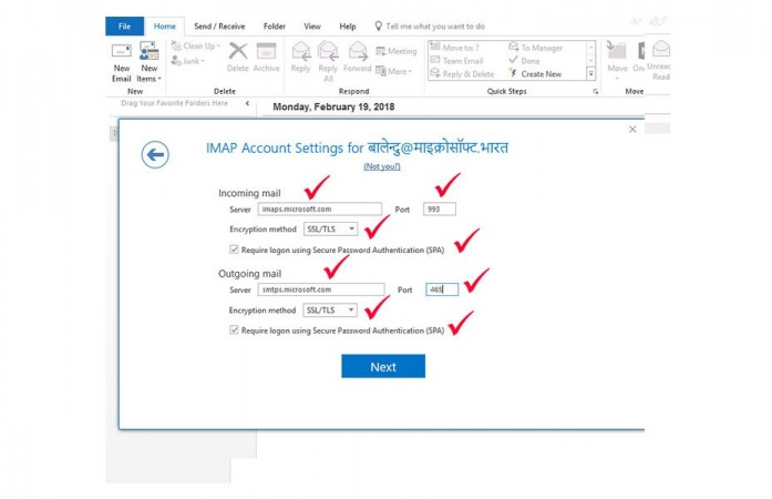 How to configure Outlook to work with an Indian language email account