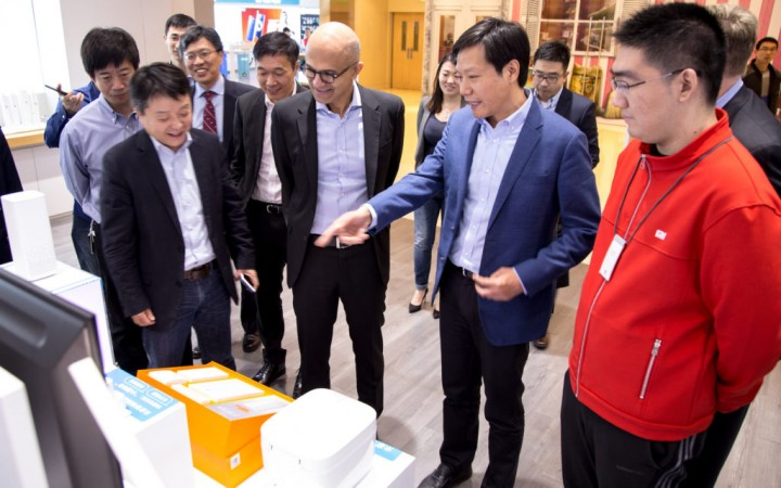 Microsoft CEO Satya Nadella at the Xiaomi's retail store with Lei Jun-the founder, Chairman and CEO of Xiaomi, as well as Wang Xiang.