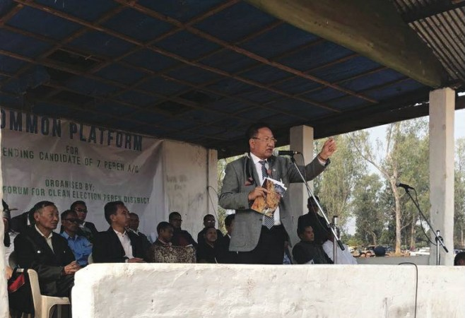 T R Zeliang speaking to the people of 7 Peren A/C ahead of assembly election in Nagaland