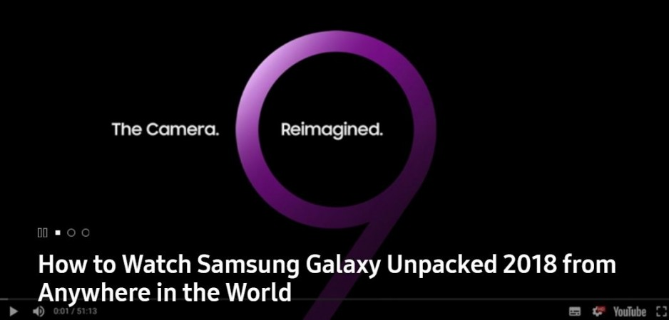 Samsung, Unpacked 2018, Galaxy S9, launch, live stream