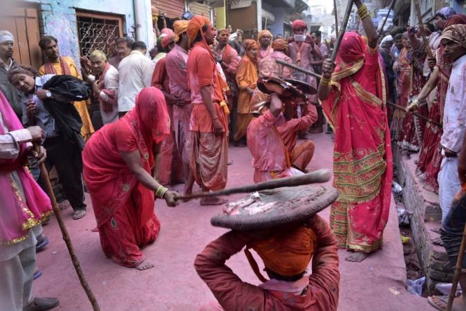 Lathmar Holi celebration in Barsana on the outskirts of Mathura, Uttar Pradesh