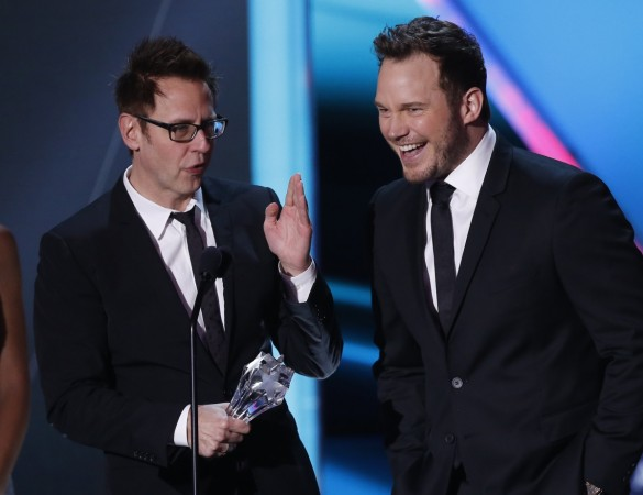 Director James Gunn (L) and star Chris Pratt accept the award for best action movie for Guardians of the Galaxy.