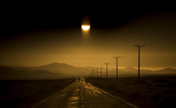 The sun sets on the Atacama desert in the Huasco region.