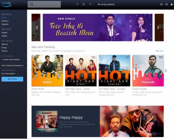 Amazon Prime Music Indian website