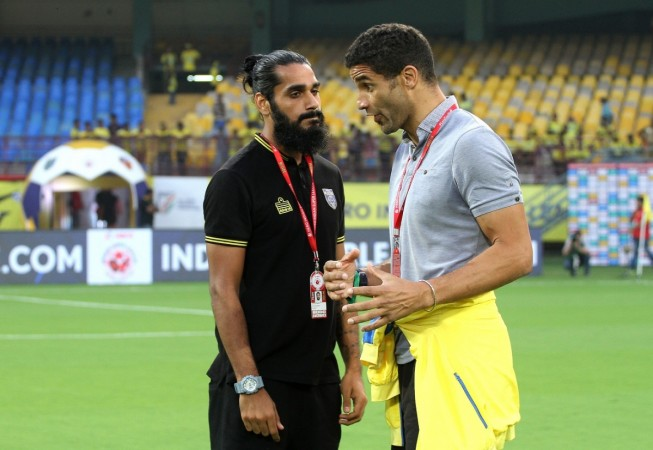 Kerala Blasters captain Sandesh Jhingan (left) with coach David James