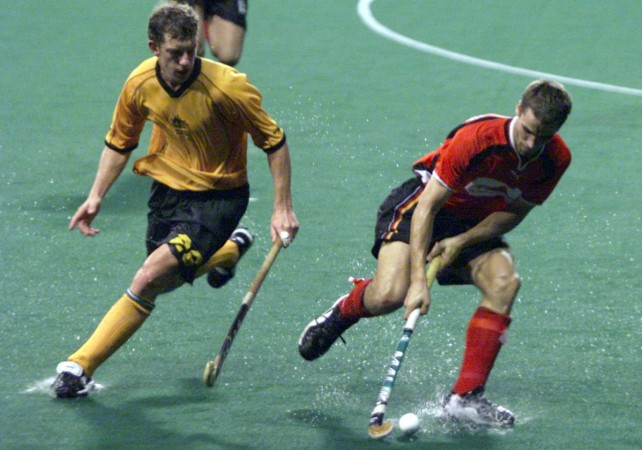 A match between Australia and Germany during the 2001 Sultan Azlan Shah Cup tournament in Kuala Lumpur, Malaysia