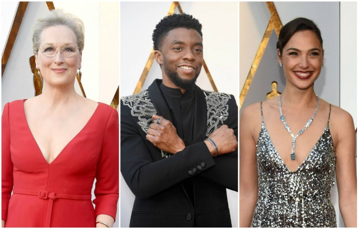 (L to R) Meryl Streep, Chadwick Boseman and Gal Gadot at the Oscars 2018.