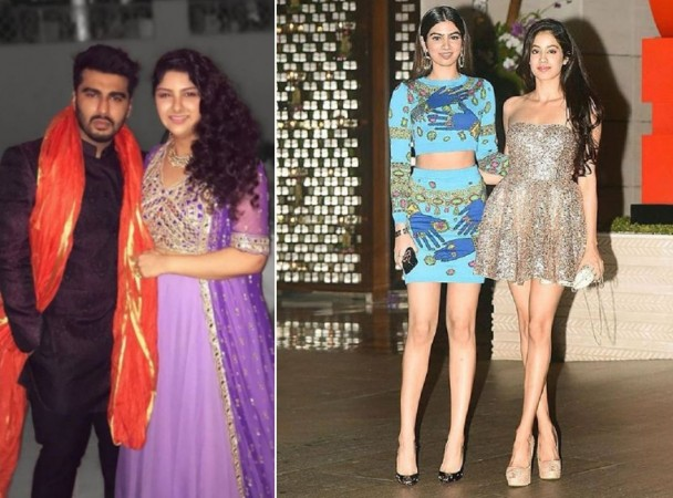 Arjun Kapoor and Anshula Kapoor with their step sisters Janhvi Kapoor and Khushi Kapoor