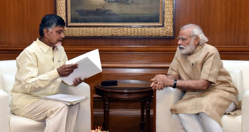 Prime Minister Narendra Modi and Andhra Pradesh Chief Minister N Chandrababu Naidu