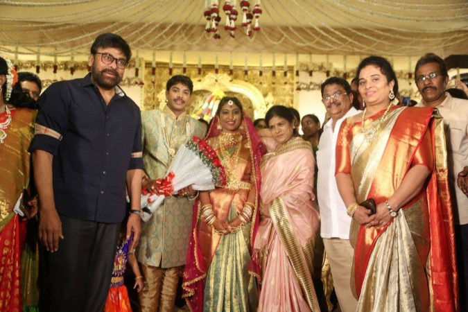 Chiranjeevi and his wife Sureka at C Kalyan's son Teja's wedding