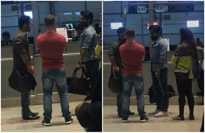 Jr NTR and Ram Charan at the Hyderabad airport