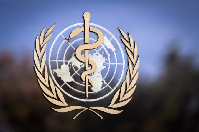 The logo of the World Health Organization (WHO)