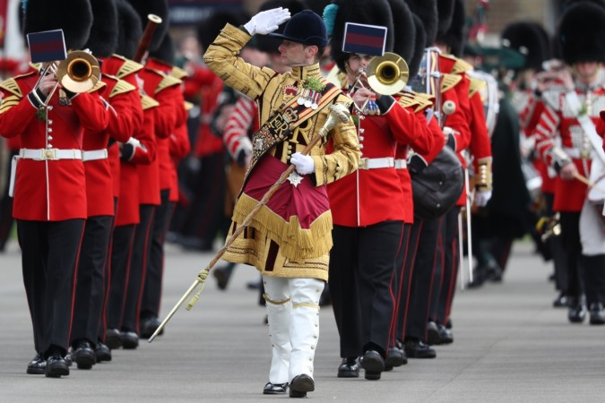 The 1st Battalion Irish Guardsmen band march during the annual Irish Guards' St Patrick's Day Parade at Household Cavalry Barracks on March 17, 2017 in London, England.