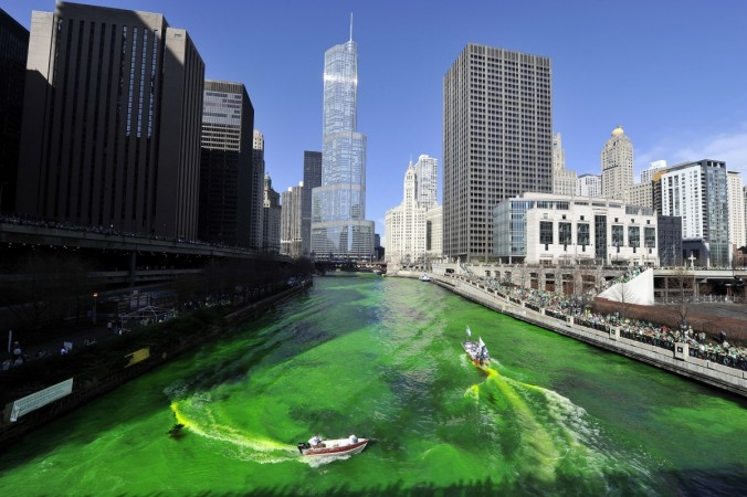 Members of the plumbers' union dye the Chicago River green for St. Patrick's Day on March 17, 2012 in Chicago, Illinois. The River was first dyed green in 1962 and has become a St. Patrick's Day tradition in Chicago.
