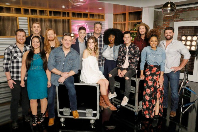 Blake Shelton with his team members on The Voice