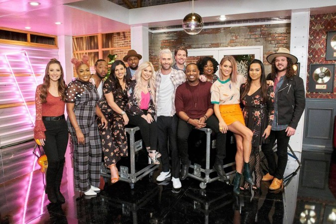 Adam Levine with his team members on The Voice