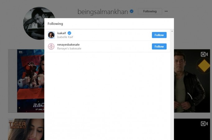 Salman Khan doesn't follow Katrina Kaif on Instagram but follows her sister Isabelle Kaif