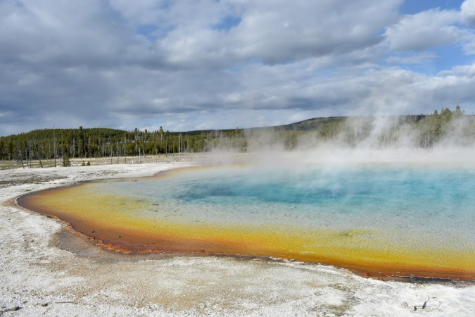 A view of a hot spring at the Upper Geyser Basin at Yellowstone National Park.