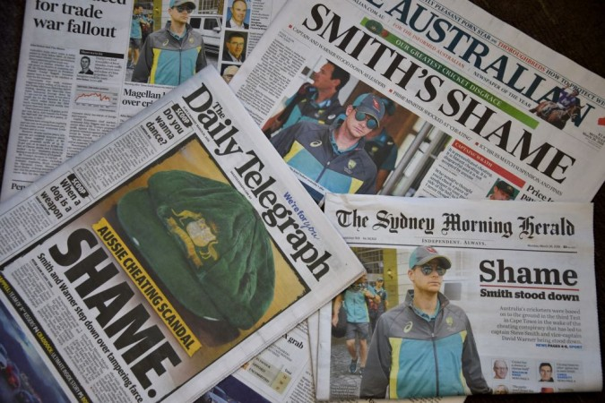 Australia ball-tampering newspapers