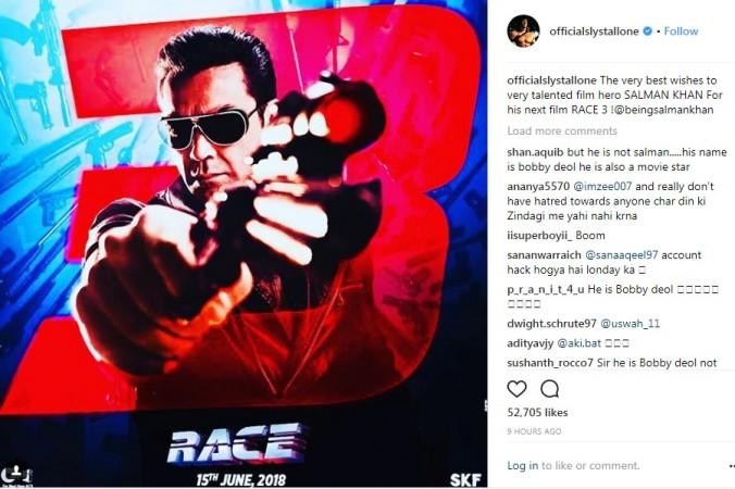 Sylvester Stallone's Instagram post
