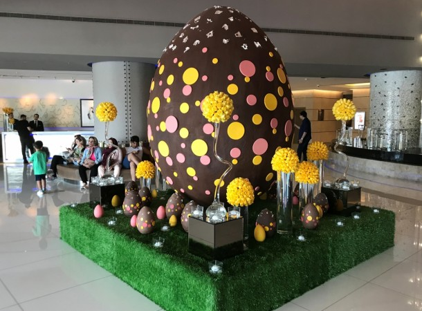 Happy easter 2018 inspirational quotes greetings wishes messages easter egg weighing 80 kilos that is partially made of dark chocolate is displayed m4hsunfo