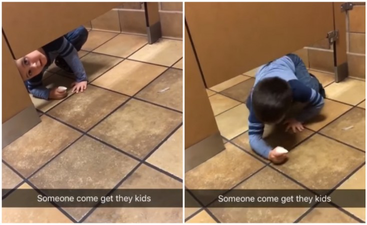 Watch Boy Crawling Into Restroom Shows How To Slide Into