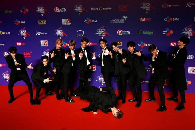 Members from South Korean K-pop group Wanna One pose on the red carpet during the Mnet Asian Music Awards in Hong Kong, China December 1, 2017.