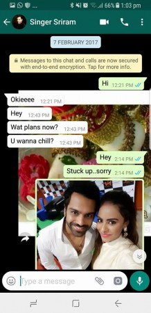 Sri Reddy chat with Sreeram Chandra