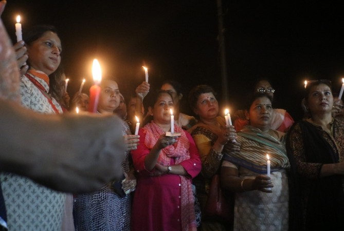 A candlelight vigil in protest in New Delhi of Kathua and Unnao rape