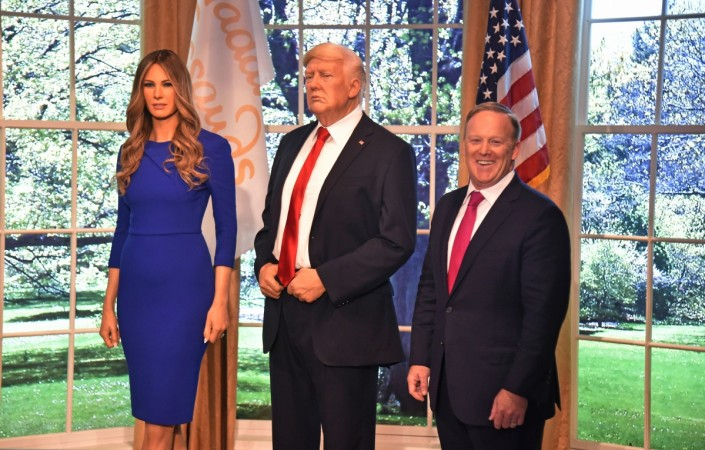Wax figure of the First Lady Melania Trump and US President Donald Trump and Sean Spicer